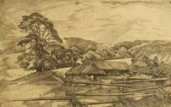 Henry Martyn Lack Proof etching;  Chichester Downs.